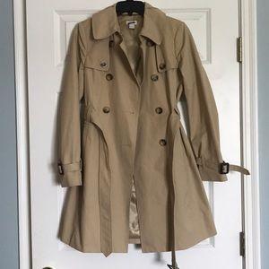 Tan J. Crew trench coat